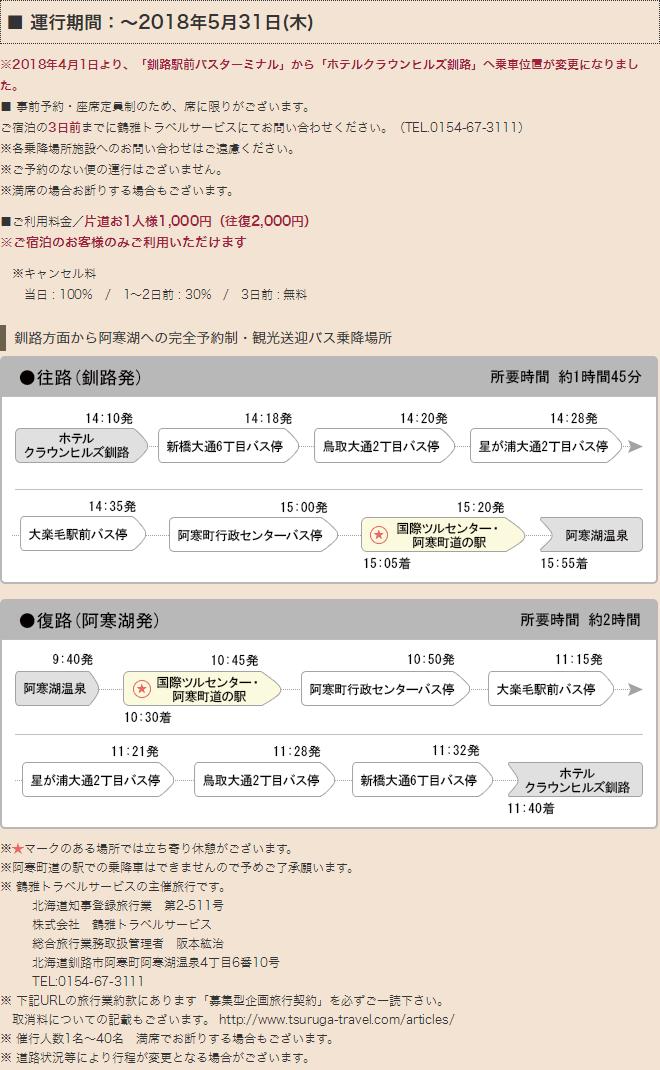 釧路方面から阿寒湖への時刻表と乗降場所
